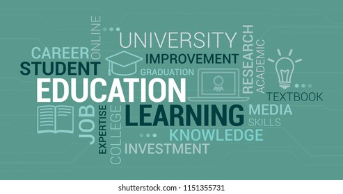 Education, university and learning tag cloud with icons and concepts