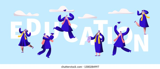 Education University Motivation Typography Banner. High School Graduation Party Invitation Print Poster. Academy Degree Student Group Character Prom Flyer Template Vector Flat Cartoon Illustration