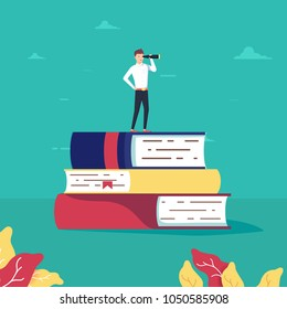 Education vector concept. Businessman or student standing on book looking at future. Symbol of career, job or graduate achievement, wisdom. Eps10 vector illustration.
