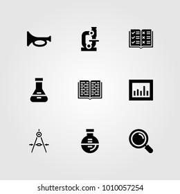 Education vector icon set. loupe, trumpet, analytics and compass