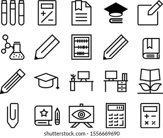education vector icon set such as: shape, bachelor, uniform, vintage, guidebook, art, discovery, grow, subtract, creative thinking, vision, master, color, growing, subtraction, steel, notepad, power