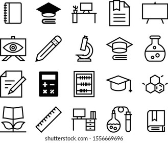education vector icon set such as: worktable, educate, orange, increase, chalk, flower, count, beaker, enlarge, cover, library, style, abacus, app, simple, physics, growth, write, graphite, classroom