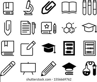education vector icon set such as: chart, pad, mark, skeletal, structure, marker, lens, chalk, molecule, art, dictionary, toxic, medication, molecular, atom, development, uniform, writer, magnify