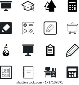 education vector icon set such as: checklist, writer, subject, pencil, list, modern, chair, flask, clipboard, comfortable, traditional, old, chemical, retro, team, experiment, diploma, high