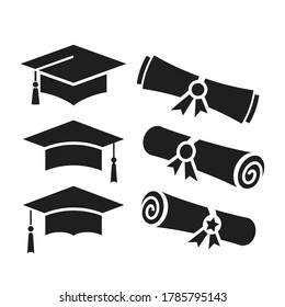 Education vector icons, academic hat and graduation diploma on white background