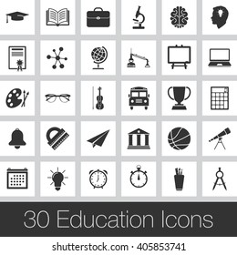 education vector icons set, modern solid symbol collection, pictogram pack isolated on gray