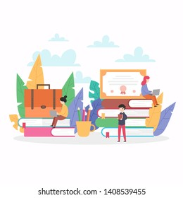 education vector illustration. people get education at a distance. elements of the graph on the books is a girl sitting with a laptop. stylish flat design for posters, flyers, cards, web banners