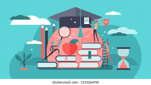 Education vector illustration. Tiny knowledge learning person concept. School, university and college graduation. Personal growth degree and development using book research, teacher and literature