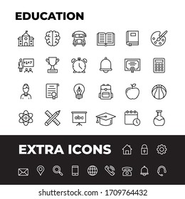 Education vector line icons set. Thin line design. Modern outline graphic elements, simple stroke symbols. School icons stock illustration