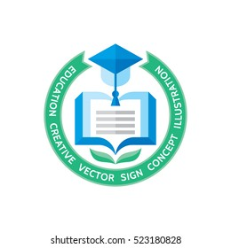 Education - vector logo template concept illustration in flat style design. Learning book sign. High school symbol. University insignia. Library icon.