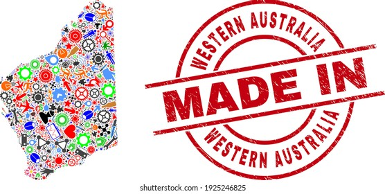 Education Western Australia map mosaic and MADE IN grunge rubber stamp. Western Australia map mosaic composed with spanners, wheels, screwdrivers, items, transports, electric sparks, helmets.