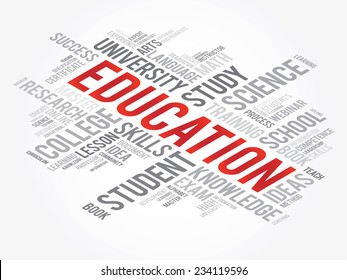 EDUCATION. Word business collage, vector background