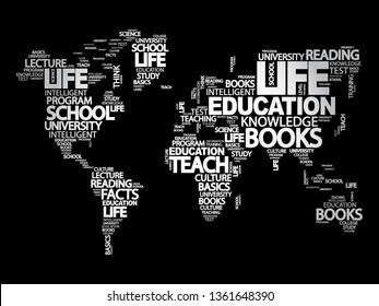Education word cloud in shape of world map, concept background