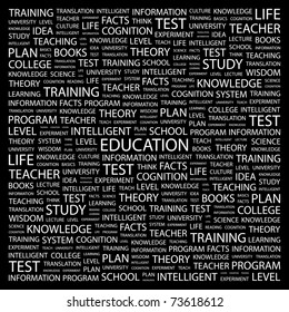 EDUCATION. Word collage on black background. Vector illustration. Illustration with different association terms.
