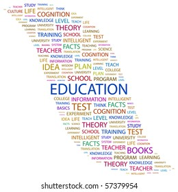 EDUCATION. Word collage on white background. Illustration with different association terms.