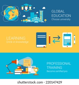 Education world university study learning professional training concept flat icons set  certification and vector web banners illustration print materials website click infographics elements collection