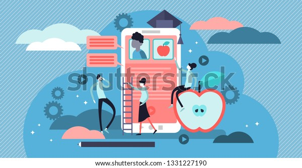 Educational app vector illustration. Flat tiny e learning persons concept. AI technology teaching students from distance. Social communication using digital devices. Modern application for web study.