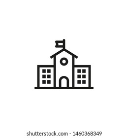 Educational building line icon. Schoolhouse, hall, building. School concept. Vector illustration can be used for topics like education, studies, teaching