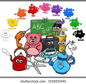 Educational cartoon illustration of basic colors for children with objects comic characters group