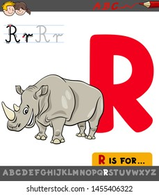 Educational Cartoon Illustration of Letter R from Alphabet with Rhinoceros Animal Character for Children