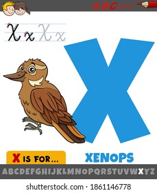 Educational cartoon illustration of letter X from alphabet with xenops bird animal character for children
