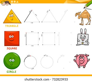 Educational Cartoon Vector Illustration of Basic Geometric Shapes Drawing for Children