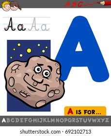 Educational Cartoon Vector Illustration of Letter A from Alphabet with Asteroid Character for Children