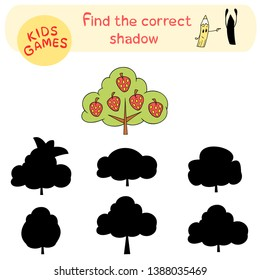 Educational children game, find the correct shadow, preschool activity, isolated vector tree