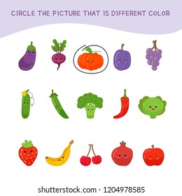 Educational children game. Kids activity sheet, Circle the picture that is different color.