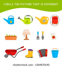 Educational children game. Kids activity sheet, Circle the picture that is different. Cartoon garden tools.