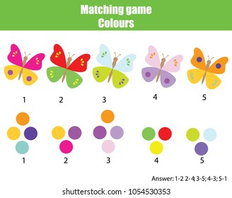 Educational children game. Matching game worksheet for kids. Match by color. Find pairs of butterflies and colors
