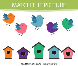 Educational children game. Matching game worksheet for kids. Match by color. Find pairs of birds and birdhouse. Learning colors