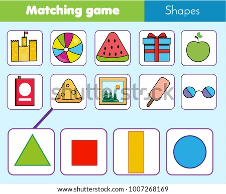 Educational Children Game Matching Game Worksheet Stock Vector ...