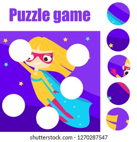 Educational children game. Puzzle for toddlers. Match pieces and complete the picture. Supergirl fly in night sky