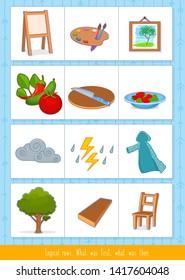 Educational children game, vector illustration. Logical rows for kids.