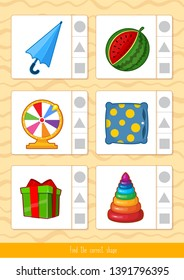 Educational children game, vector. Logic game for kids. Match by shape