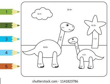 Educational coloring page for kids. Paint color by subtraction numbers. Funny cartoon dinosaurs Brachiosaurus with baby dinosaur. Vector illustration.
