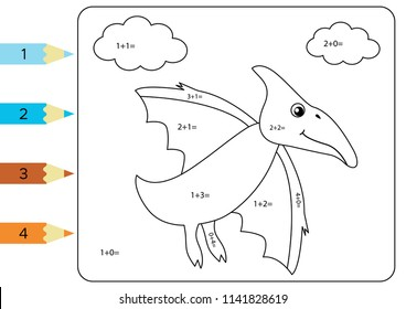 Educational coloring page for kids. Paint color by addition numbers. Funny cartoon dinosaur Pterodactyl. Vector illustration.