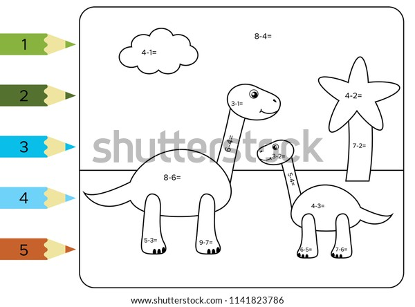 Educational Coloring Page Kids Paint Color Stock Vector