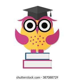Educational concept - Back to school. Wise owl, books and graduate cap. Vector Flat illustration.