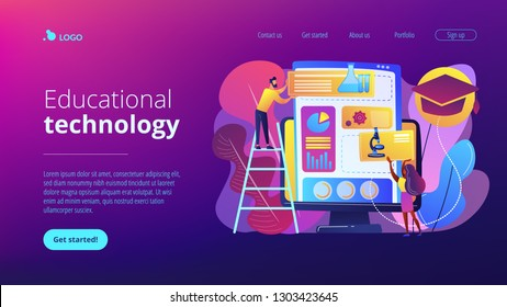 Educational courses management software on computer screen. Learning management system, educational technology, online learning delivery concept. Website vibrant violet landing web page template.