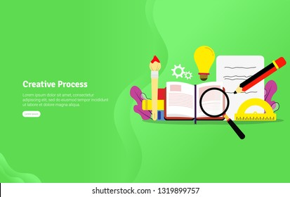 Educational Creative Process Concept and Scientific Illustration Banner, Suitable For Wallpaper, Banner, Background, Card, Book Illustration or Web Landing Page