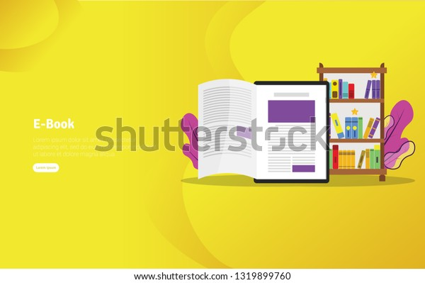 Educational E-book Concept and Scientific Illustration Banner, Suitable For Wallpaper, Banner, Background, Card, Book Illustration or Web Landing Page, and use for marketing, business or promotion