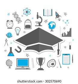 Educational elements, objects, items and graduate cap on white background.