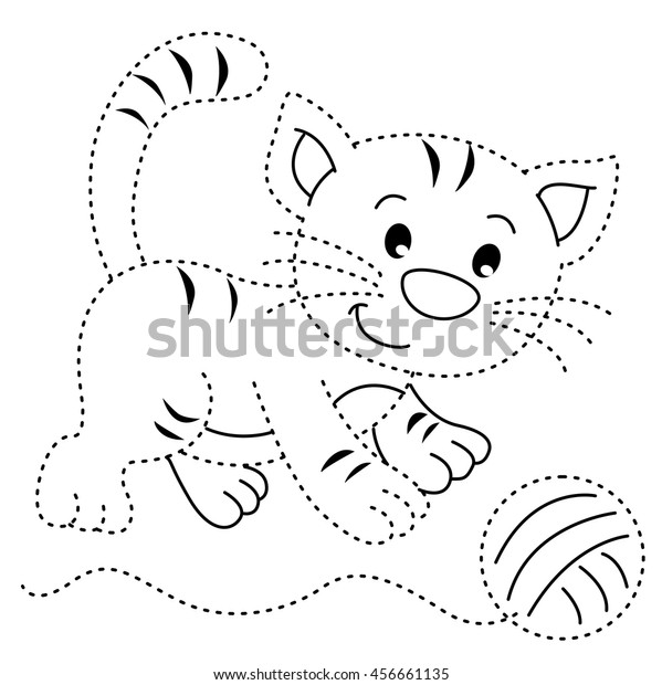 Educational Exercise Coloring Book Children Cat Stock Vector