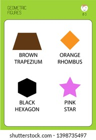 educational flash cards for children. Geometric shapes and colors. Trapezium, star, hexagon, rhombus. For home schooling, kindergartens, children's centers