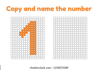 Educational game for attention for children of kindergarten and preschool age. Repeat the picture. Copy and name the number. Color by example. Orange one. 1