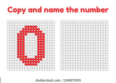 Educational game for attention for children of kindergarten and preschool age. Repeat the picture. Copy and name the number. Color by example. Red zero. 0
