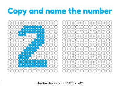 Educational game for attention for children of kindergarten and preschool age. Repeat the picture. Copy and name the number. Color by example. Blue two. 2