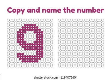 Educational game for attention for children of kindergarten and preschool age. Repeat the picture. Copy and name the number. Color by example. Purple nine. 9